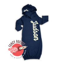 Baby Gown Hooded Newborn Personalized Varsity