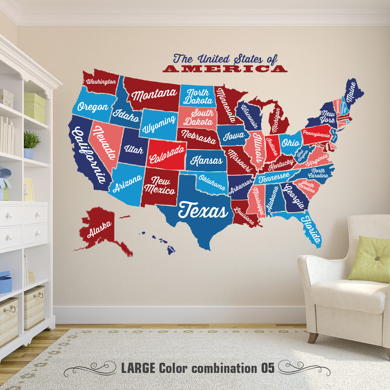 United States Map, Decal USA Map Sticker, State Map Wall Mural