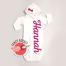 Baby Girl Hooded Gown Newborn Personalized