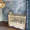 "Nursery Image from Ghizal - Vintage Blue Atlas Map Mural size 140"" wide by 96"" height"