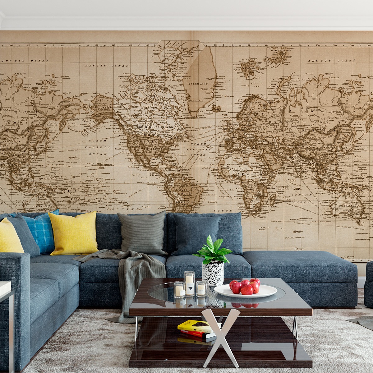 Vintage world atlas map wall mural fabric decal vintage 1891 atlas world map the world mural printed in your choice of wall gumiabroncs Image collections