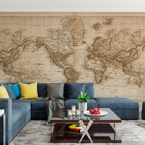 Vintage world atlas map wall mural fabric decal vintage 1891 atlas world map the world mural printed in your choice of wall gumiabroncs Images