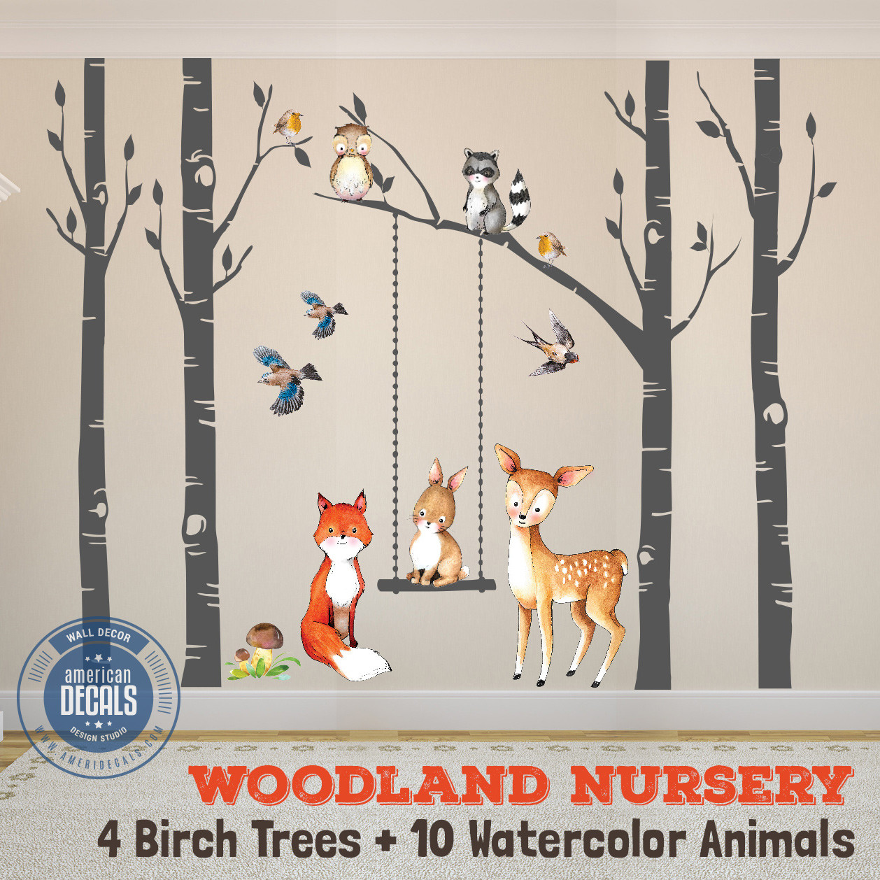 wall decal nursery fox friends 4 trees woodland watercolor animals. Black Bedroom Furniture Sets. Home Design Ideas