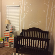 6 Trees Wall Decal  Woodland Nursery Personalized with Baby's Name