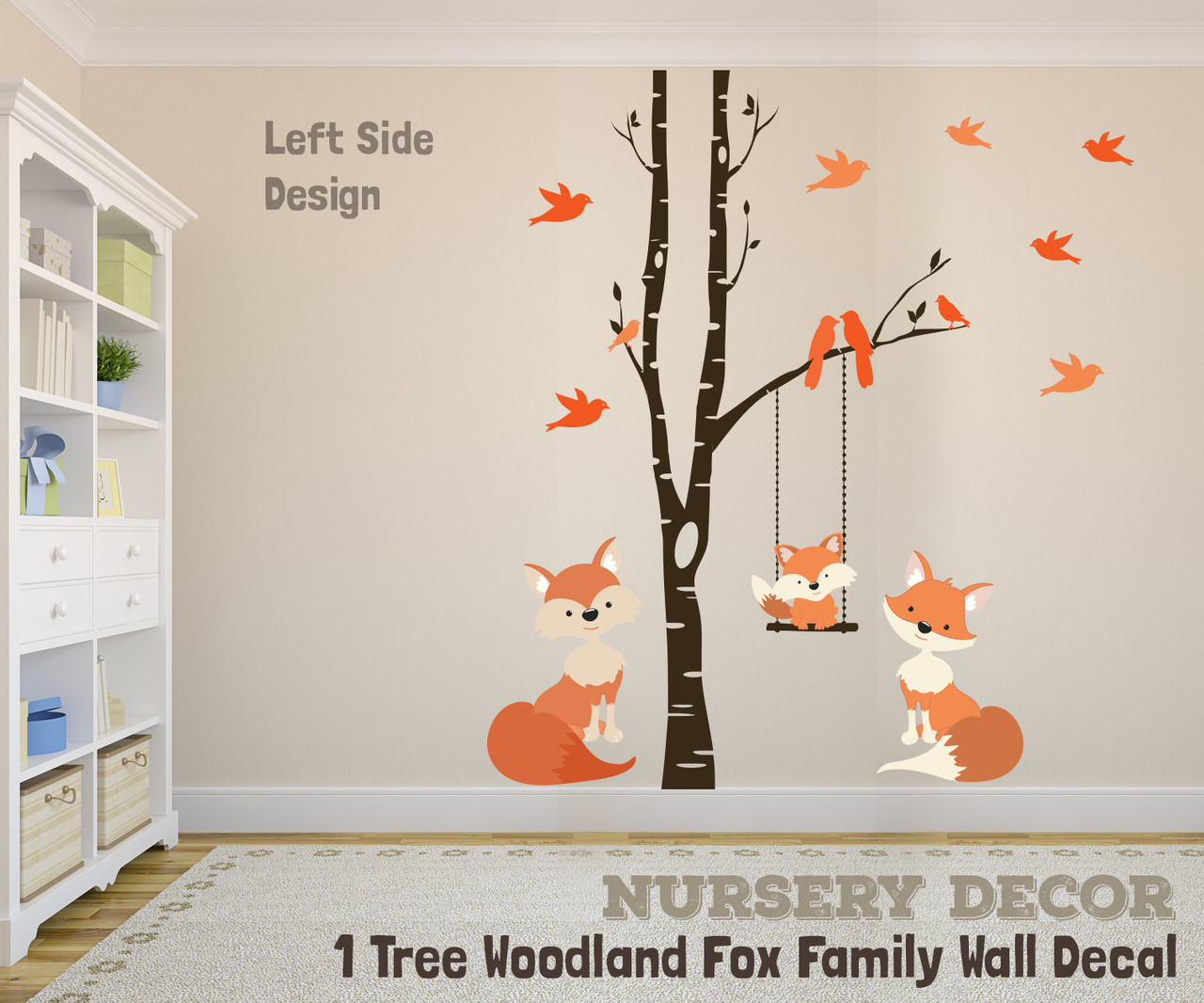 Wall Decal Family Fox Swing Trees River Birch Woodland Forest