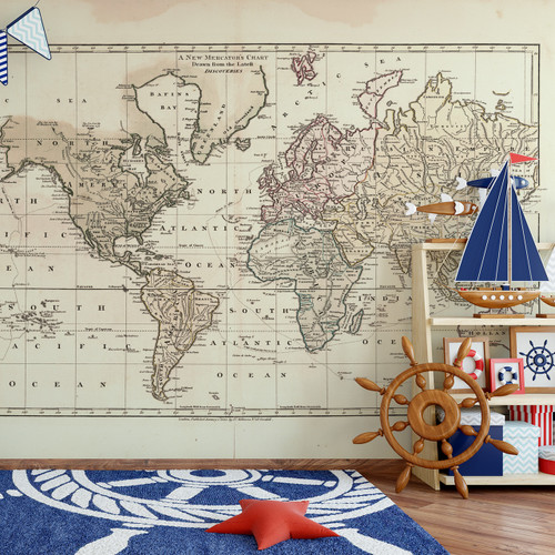 Wall mural vintage 1800 world atlas map wall self adhesive fabric decal wall mural vintage 1800 world atlas map 4 colors custom sizes ameridecals gumiabroncs Choice Image