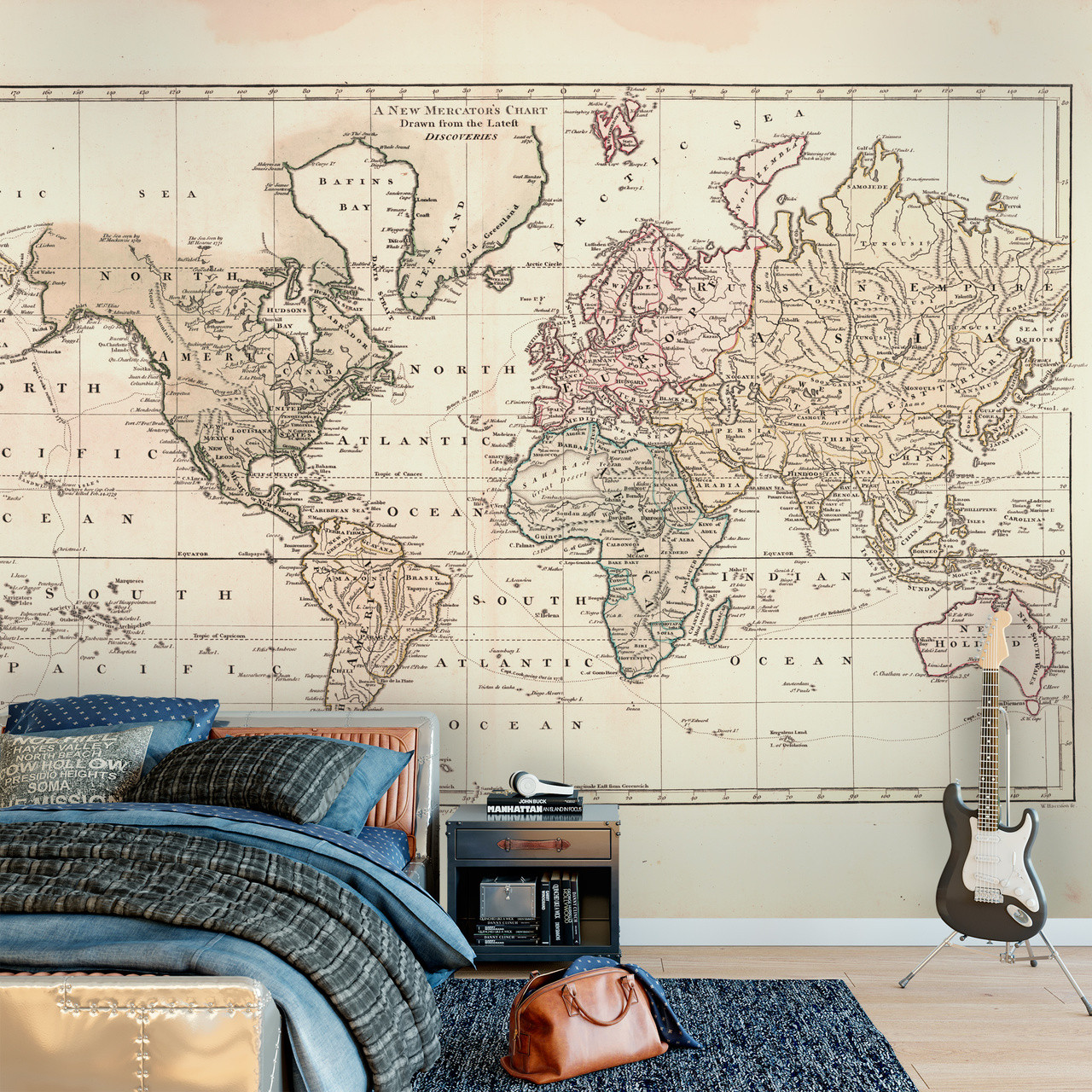 Wall Mural Vintage 1800 World Atlas Map Wall Self-Adhesive Fabric Decal