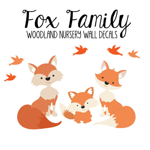 Family Orange Fox Wall Decals Nursery www.AmeriDecals.com