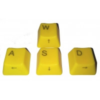Yellow WASD Keycaps, side-printed arrows, suits Cherry keyswitches