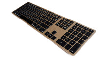 Matias Gold Wireless Aluminium Keyboard, Mac/Win, up to 4x BT