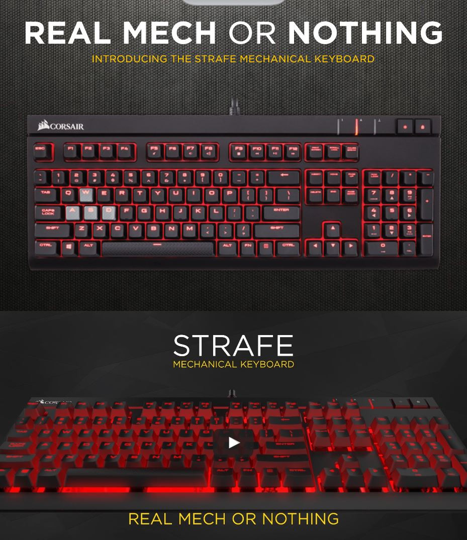 b72d7fcdceb Corsair STRAFE Cherry MX Brown with Red LED Mechanical Gaming ...