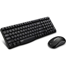 RAPOO X1800S 2.4GHz Wireless Optical Keyboard Mouse Combo Black - 1000DPI Nano Receiver