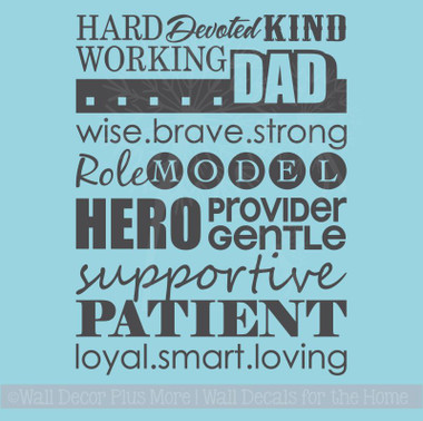 Dad Collage Subway Art Wall Decal Stickers Wall Letters