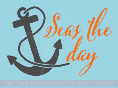 Seas The Day With Anchor Nautical Beach Summer Wall Decals