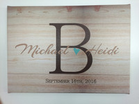 Wood Grain Canvas Print Monogram Letter With S Name Personalized Wedding Art