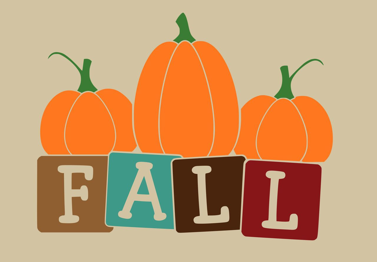 Wall Stencil Stickers Fall Block Letters With Pumpkin Art Wall Decal Design