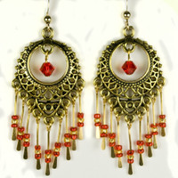 Paddle Earrings -Gold and Red