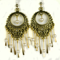 Paddle Earrings - Gold and Pearls