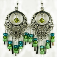 Paddle Earrings - Green and Blue