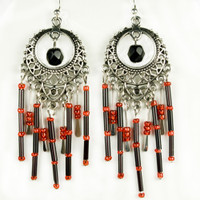 Paddle Earrings - Black and Red