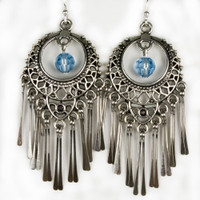 Paddle Earrings - Silver and Blue