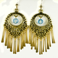 Paddle Earrings - Gold and Blue
