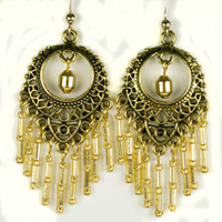Paddle Earrings -Gold Beads