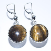 Tiger's Eye Cabochon Earrings