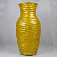 Gold Sparkle Ribbed Vase