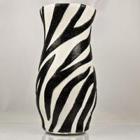 Zebra Striped Hurricane Vase