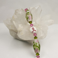 Pink Ribbon and Green  Bracelet