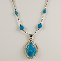 Turquoise Howlite Cabochon Necklace