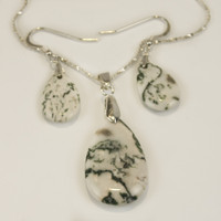 Tree Agate Pendant Set