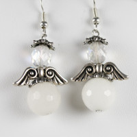 White Jade Angel Earrings
