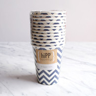 hiPP Navy Chevron Cups - Pack of 12