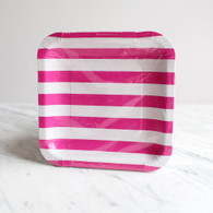 Sambellina Raspberry Stripe Square Plates - Pack of 12