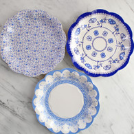 Talking Tables Party Porcelain Blue Cake Plates - Pack of 12