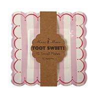 Meri Meri Toot Sweet Pink Stripe Cake Plates - 12pk