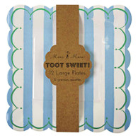 Meri Meri Toot Sweet Blue Stripe Plates - Pack of 12
