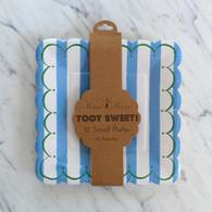 Meri Meri Toot Sweet Blue Stripe Cake Plates - 12pk