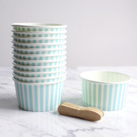 Blue Stripe Ice Cream Cups - Pack of 12