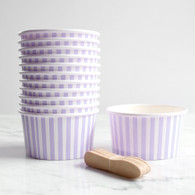 Lavender Stripe Ice Cream Cups - Pack of 12