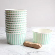 Mint Stripe Ice Cream Cups - Pack of 12