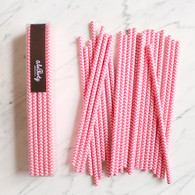 Sherbet Pink Chevron Paper Straws - Pack of 25