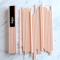 Peach Chevron Paper Straws - Pack of 25