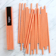 Orange Chevon Paper Straws - Pack of 25