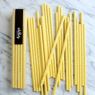 Lemon Yellow Chevron Paper Straws - Pack of 25