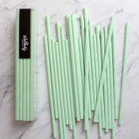 Pastel Mint Chevron Paper Straws - Pack of 25