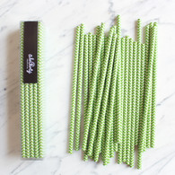 Lime Chevron Paper Straws - Pack of 25