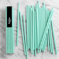 Aqua Mint Chevron Paper Straws - Pack of 25